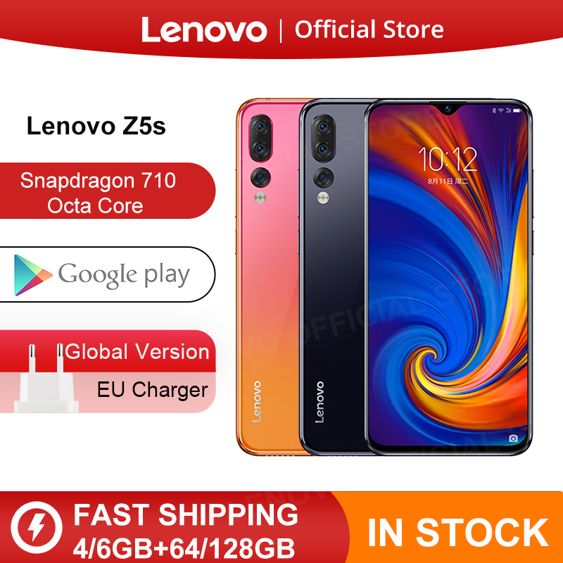 Global Version Lenovo Z5s Z5 S สมาร์ทโฟน Snapdragon 710 OCTA Core Face ID 6.3 นิ้ว Android P Triple กล้องด้านหลังสมาร์ทโฟน