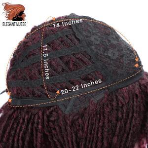 Image 3 - Pelucas sintéticas cortas y suaves para mujeres negras, elegante MUSES, fibra de alta temperatura, Dreadlock, degradado, Burg, cabello trenzado de ganchillo