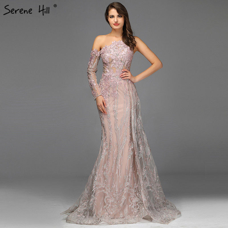 Pink Beading Diamonds Sexy Evening Dresses Real Photo One-Shoulder Mermaid Evening Gowns 2019 Serene Hill LA60999