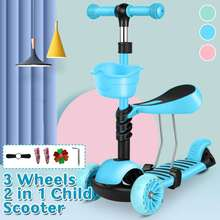 Kids Scooter 3 in 1 LED Wheels Mini Kick Scooter Children Walkers Toddler Scooters with Adjustable Handle T-Bar & Seat