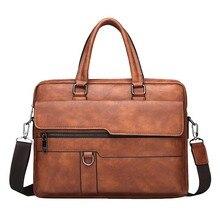 Litthing Retro Men Tote Solid Bag Faux Leather Briefcase Shoulder Bag Messenger Bag CrossBody Shoulder Business Bags For Men