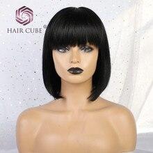Haircube синтетические 8 дюймов парик 50% человеческие волосы натуральный черный Парики с аккуратные челки короткие прямые синтетические волосы парики из натуральных волос для Для женщин