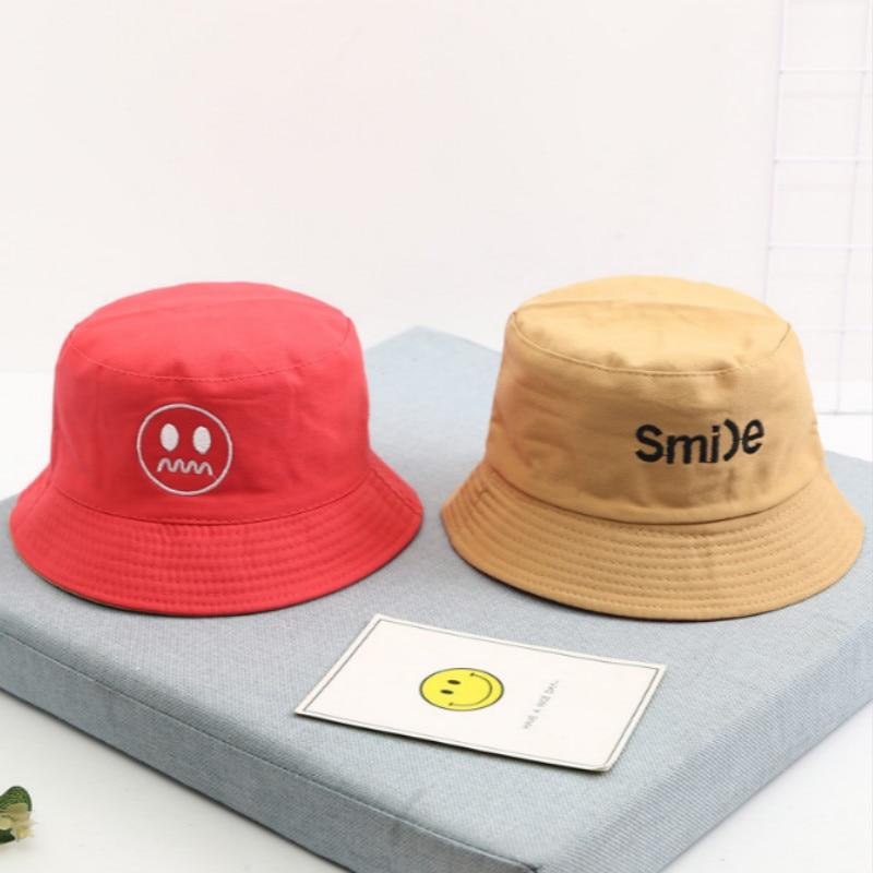 Reversible Bucket Hat Kids Summer Cotton Sun Hat Cartoon Embroidery Toddler Bucket Cap Boys Girls Fishing Hat