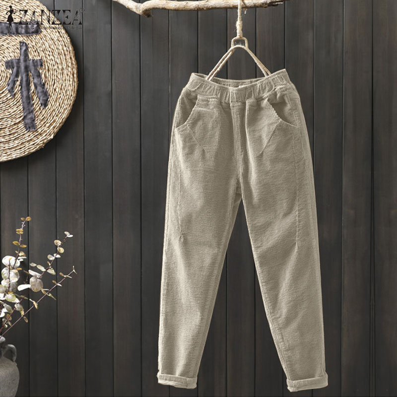Women's Corduroy Pants Autumn Harem Pants 2019 ZANZEA Winter High Elastic Long Pantalon Female Casual Turnip Palazzo Plus Size