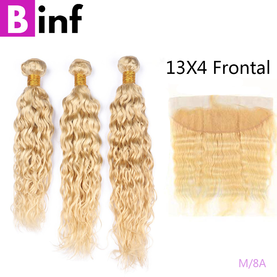 613 Blonde 3 Bundles with Frontal Peruvian Water Wave Frontal With Bundles 13x4Transparent Lace Pre Plucked Remy Hair On Sale image