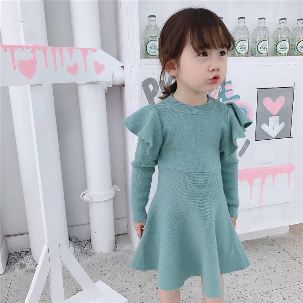 Mint Green Baby Girls Dress Flying Sleeve Knitted Dresses Ruffled Kids Sweater For Girl Autumn Winter Children Vestidos
