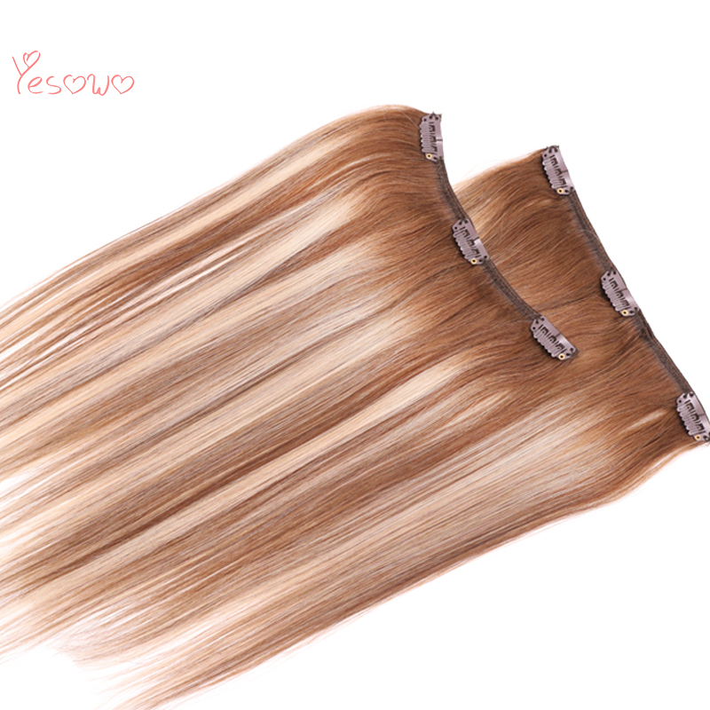 Yesowo Full Head 9PCS Raw Unprocessed Real Human Hair 4/27/4# Brazilian Ombre Natural Hair Clip Extensions