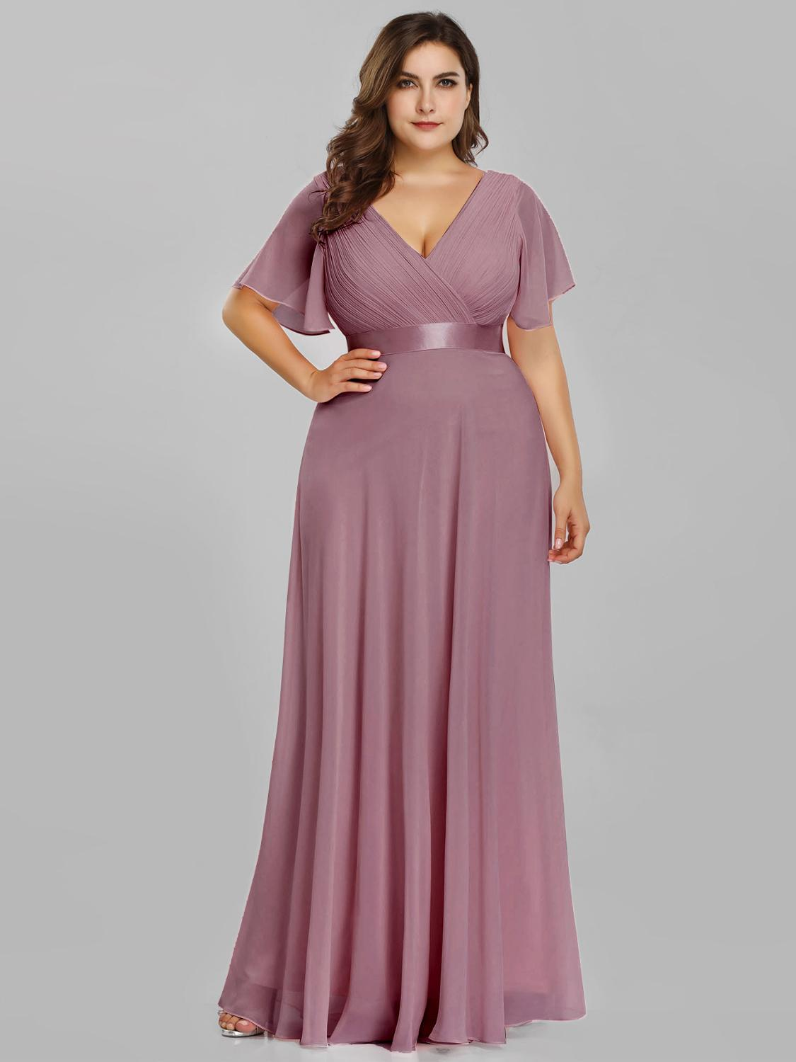 Prom-Dresses Party-Gowns Robe-De-Soiree Navy-Blue Formal Long Pink Plus-Size Women Ever Pretty
