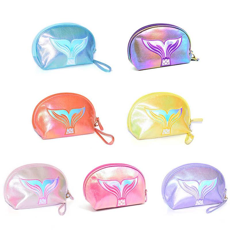 2020 Baru Putri Duyung Tas Kosmetik Laser Fishtail Lingkaran Kecantikan Pelangi Sihir Warna Clutch Kosmetik Kantong Wanita Tas Make Up