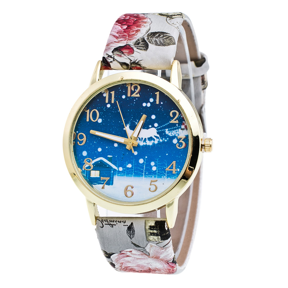 Printed Quartz Watch Glass Mirror Round Dial Synthetic Leather Band Couple Watch LL@17