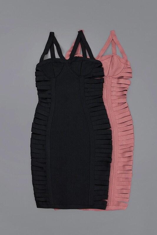 Сексуальное женское платье, хит продаж, длина до колена, розовый, черный цвет, Одноцветный ремешок, тонкое Бандажное платье, сексуальное веч... - 6