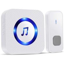 Waterproof Doorbell Door-Chime-Kit Blue-Lights Electric Home Wireless IP55 with
