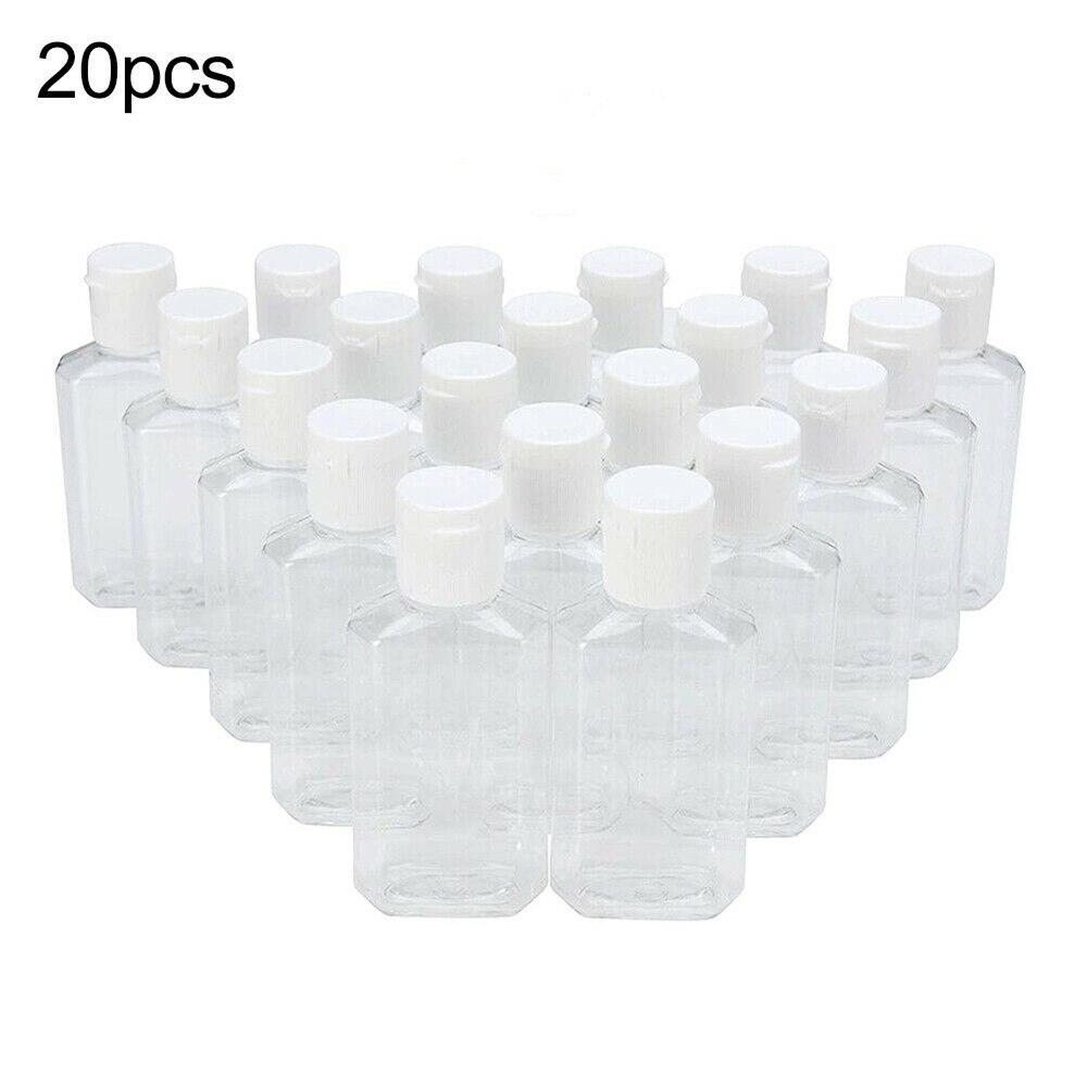 20Pcs Travel Disinfectant Soap Lotion Shampoo Refillable Empty Bottle Travel 60ml PET Bottle Plastic Bottles 2020 New