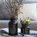 Скандинавские черные стеклянные вазы  гидропоника  растительный цветок  домашний декор для искусственных цветов  букет с вазой  украшение с...