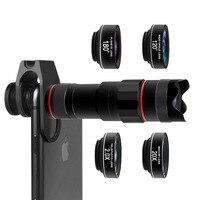 HD 4K Mobile Phone Camera Lens Kit 18X Telephoto Lens with Fish Eye Wide Angle Macro 2X Telescope Lenses for Smartphones
