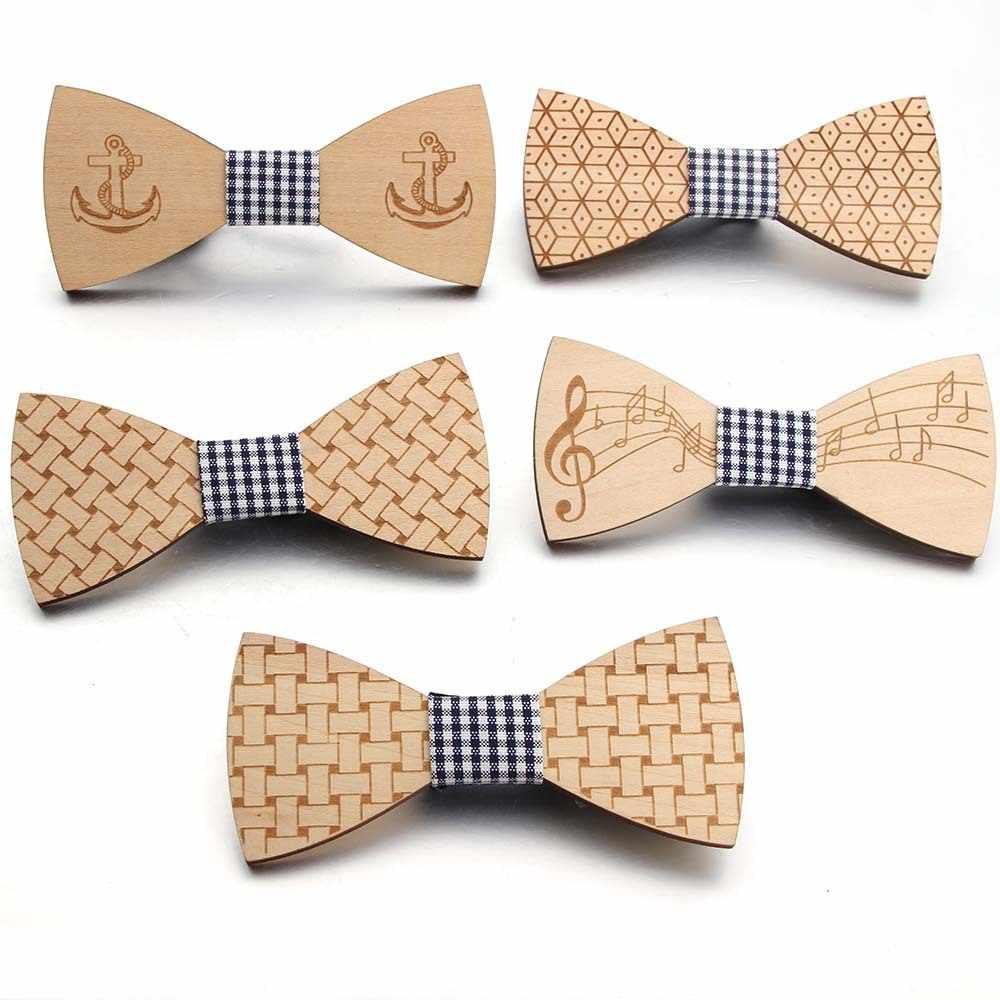 Details about  /Unisex Vintage Wooden Bow Tie Hollow Carved Neck Adjustable Strap Bowtie