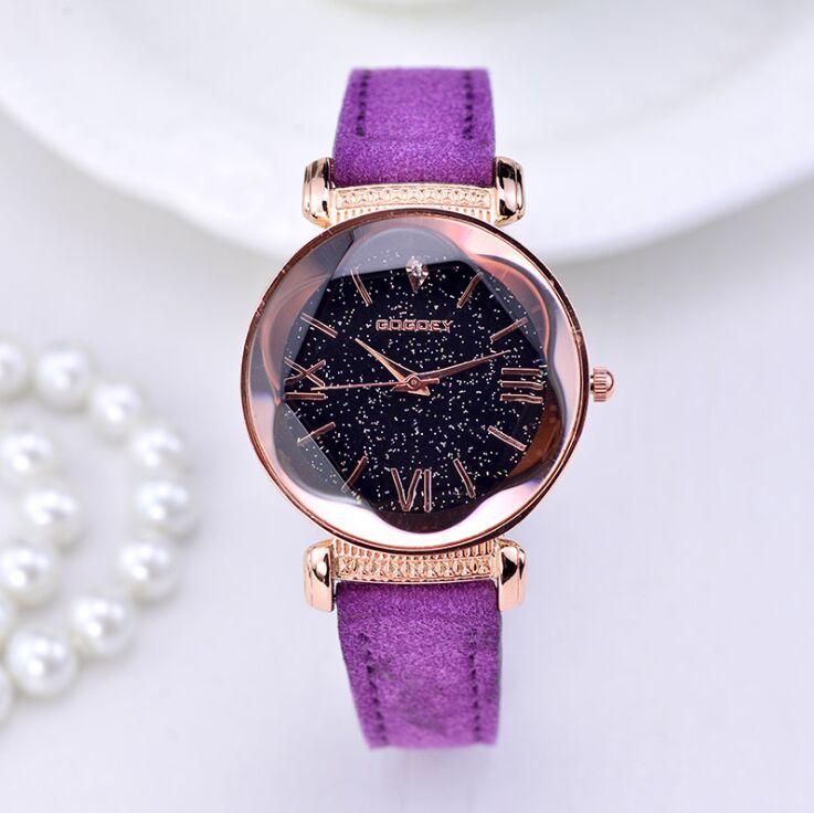 2019 nowych moda marka gogoey Starry Sky skórzane zegarki kobiety panie casual dress quartz zegarek reloj mujer go4417 6