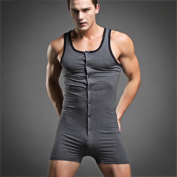 2020 New Men Cotton Sleepwear Casual Button Nightwear Onesies Onsie Sleeveless Solid Home Wear Summer New Jumpsuit Pajamas
