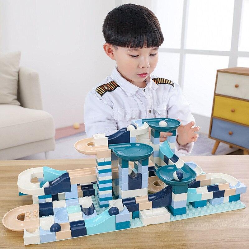 80-360 Uds. Bloques de mármol carrera laberinto pista de bolas bloques de construcción de plástico embudo tobogán ensamblar ladrillos Constructor juguetes para niños