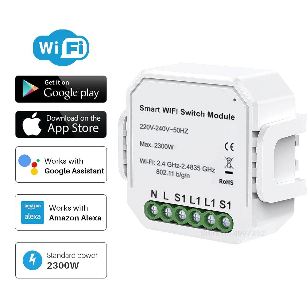 WIFI модуль Smart Switch 1 банда/2 банды двухсторонний 10А 2300 Вт Tuya приложение Smart Life дистанционное управление группа управление таймер работает с Alexa