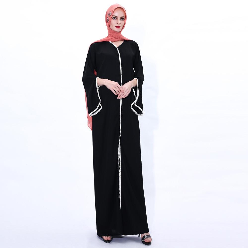 Muslim Fashion Hijab Dress Kaftan Islam Clothing Abaya Dubai Turkey Arabic Vestidos Robe Women V-neck Eid Mubarak Long Dress 6