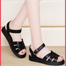 Leather sandals women's flat soled soft soled mom summer 2021 new middle-aged and old size thick soled middle-aged women's shoes