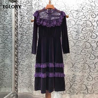 Top Quality New 2019 Autumn Winter Evening Party Vestidos Women Sexy Sheer Lace Patchwork Long Sleeve Mid Calf Vintage Dress