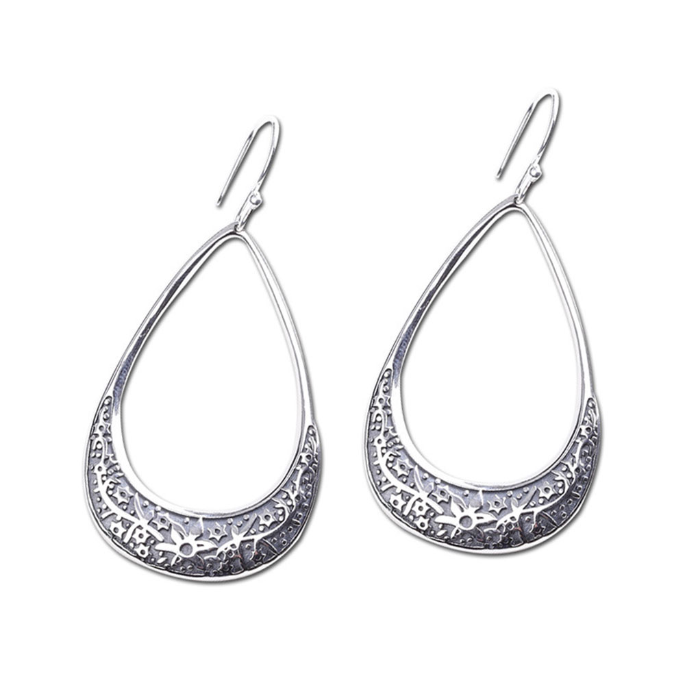 YiYan 925 Sterling Silver Handmade Earrings Exaggerate National Style for Women Girl Fashion Jewelry
