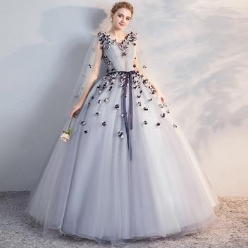 grey 3/4 Sleeve Quinceanera Dresses Ball Gown Flower Women Sweet 16 Dress Vestido De Festa 15 Anos Prom Robe Bal