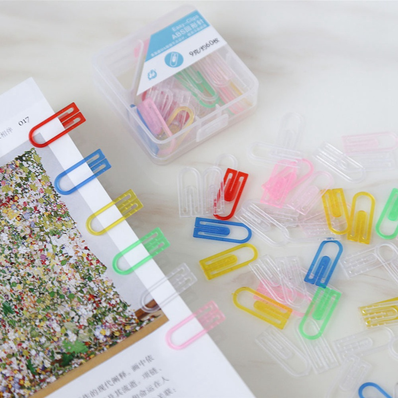 60pcs/pack  Office School Supplies Color Plastic Paper Clip Student Paper Storage Category Needle Boxed Rust Mix Color