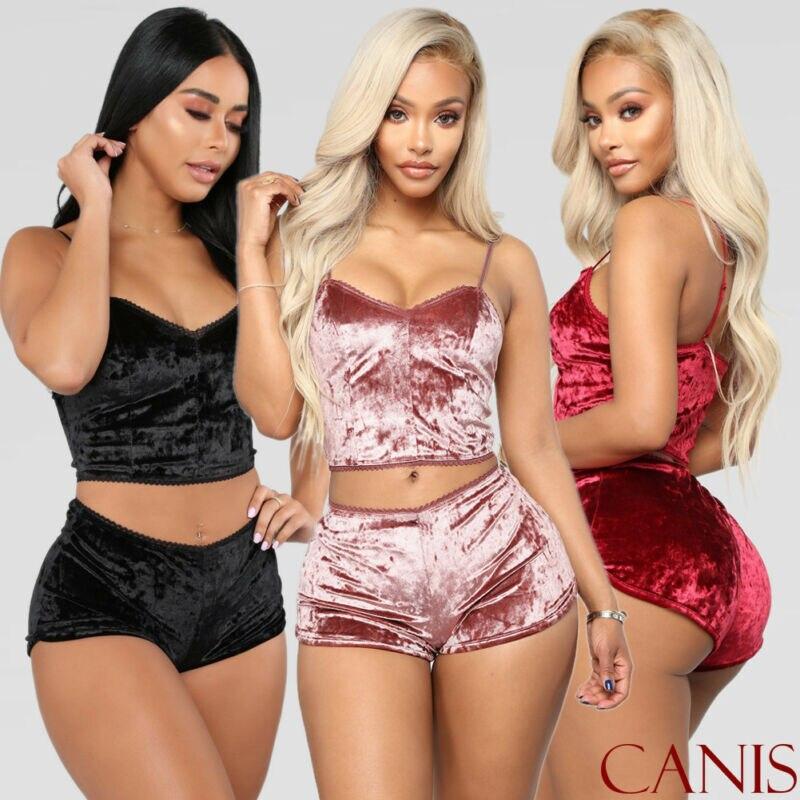 2pcs Fashion Women Velvet Sleepwear 2019 Sexy Spaghetti Strap Shorts Pajama Set Ladies Sleepwear Female