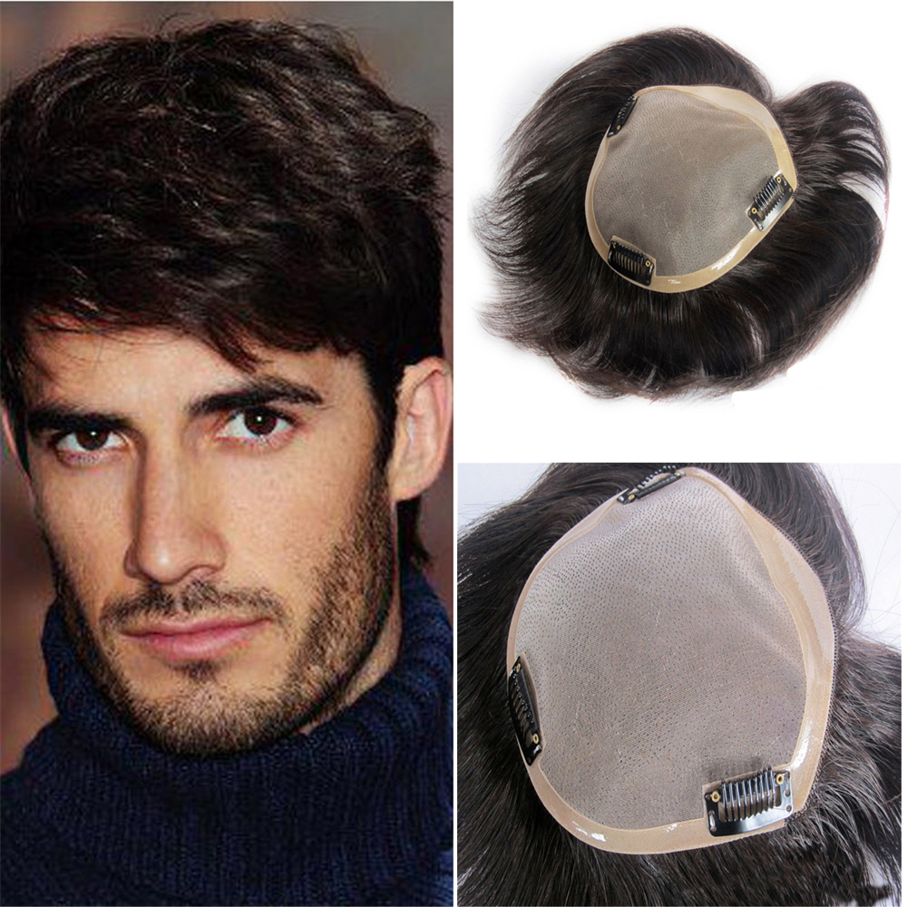 BYMC Mono Toupee Human Hair Mens Toupee Natural Hairline Lace With PU Replacement System With Clips