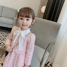 Kids Dresses for Girls with Sleeves 2019 Autumn Plaid Party and Wedding Pink Dress In Long