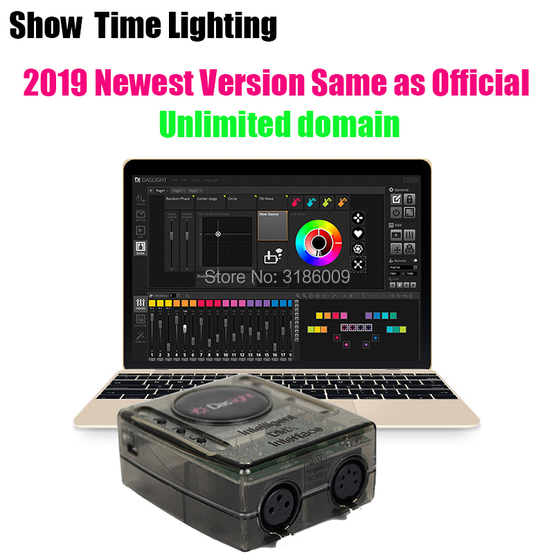 2019 Newest Version Daslight DVC4 DMX Software Stage Light Controller Moving Head Console DJ Stage Light USB Lighting Interface