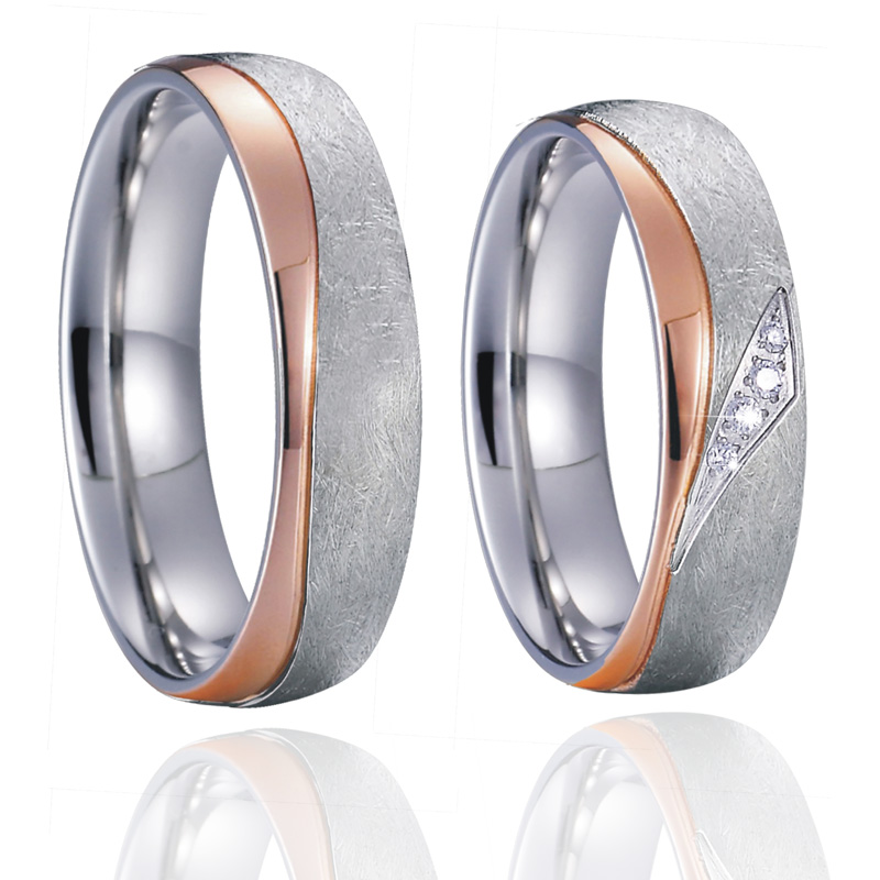 Hearts and Arrows CZ Titanium Steel Wedding Rings Womens Engagement Band Jewelry 10