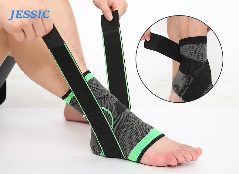 JESSIC 1 PC Sports Ankle Brace Compression Strap Sleeves Support 3D Weave Elastic Bandage Foot Protective Gear Gym Fitness