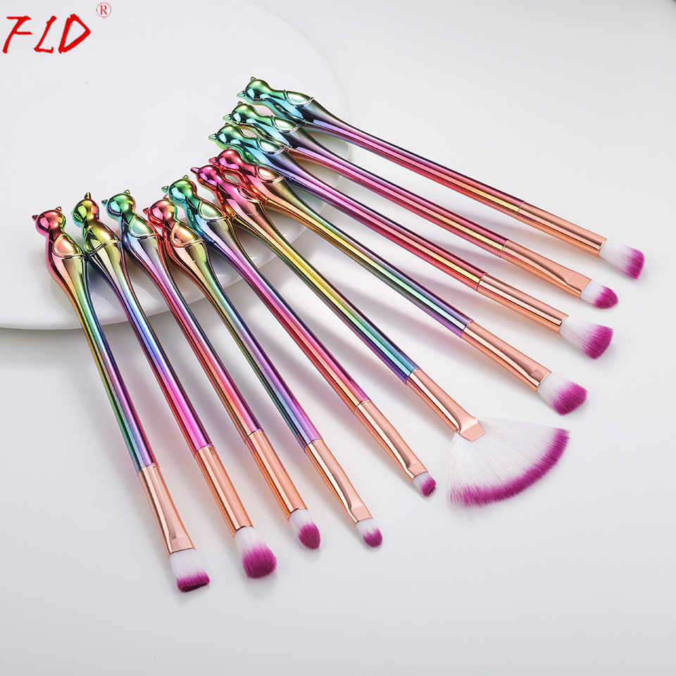 Field 10Pcs Kucing Makeup Brush Set Eyeliner Eye Shadow Set Kuas Profesional Make Up Alat Set Kit