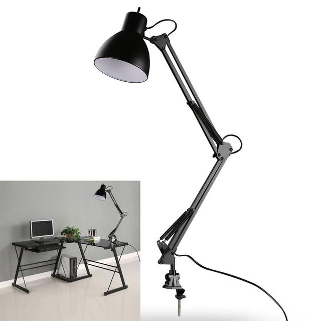 Flexible Swing Arm Clamp Mount Desk Lamp Black Table Light Reading Lamp for Home Office Studio Study 110V 240V for Home Room
