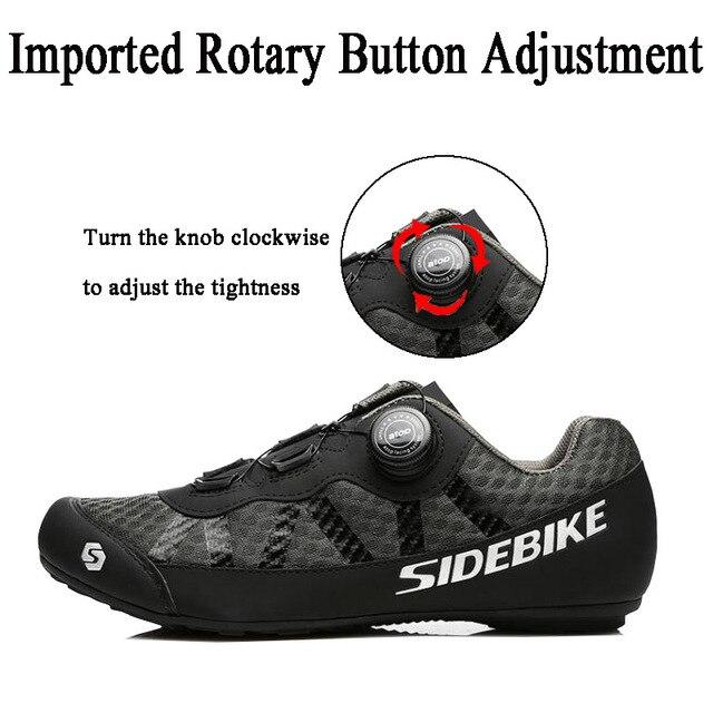 Sidebike 2 cores sapatos de ciclismo men pro team mountain road bicicleta sapatos de borracha respirável desbloqueado sapatos mtb 36-46 tamanho 4