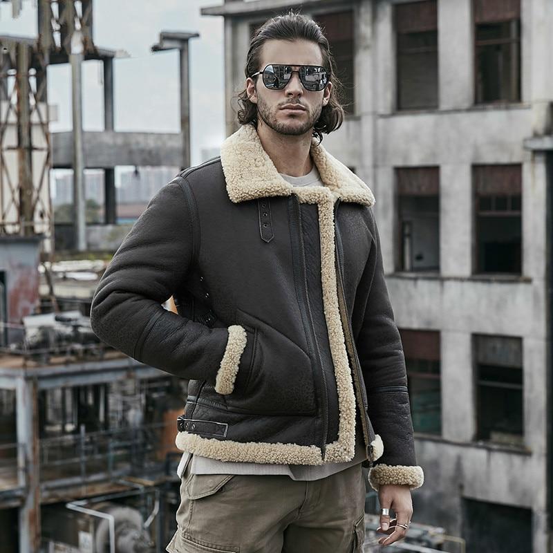 2019 New Men's B3 Shearling Jacket Thicken Sheepskin Coat Winter Fur Coat Mens Genuine Leather Jacket Motorcycle Jacket Men