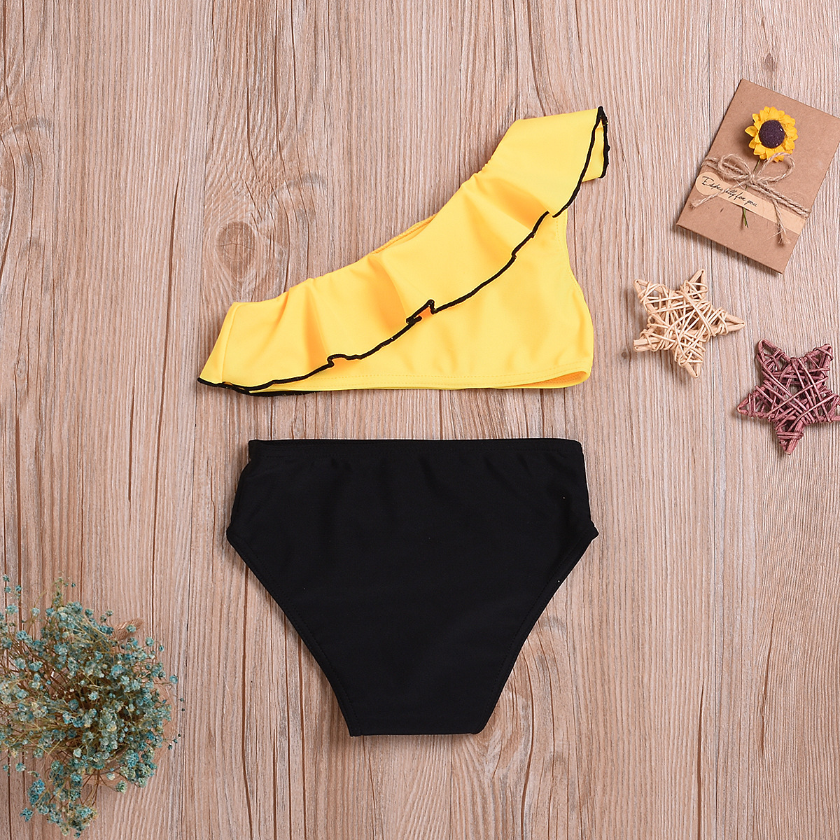 2019 Summer Girls' Shirt Korean-style Candy Multi-color Children Trimmed Collar And Two-piece Swimsuits CHILDREN'S Swimwear