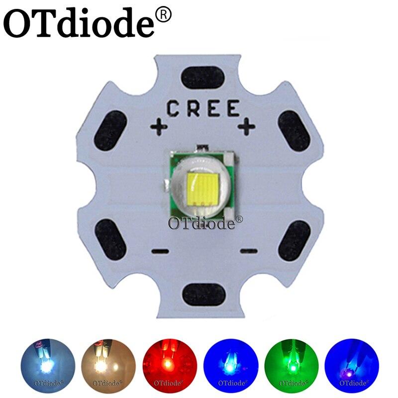 1 Chiếc Cree XML XM-L T6 LED U2 10W Trắng Lạnh Ấm Trắng Xanh Đỏ Xanh UV Led Bộ Phát diode Với 12 Mm 14 Mm 16 Mm 20 Mm PCB Cho Diy