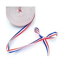 Christmas Decor 10MM Fabric 25 yard France Flag Grosgrain Ribbon for Craft Butterfly Hair Clip Bag Belt Red White Blue
