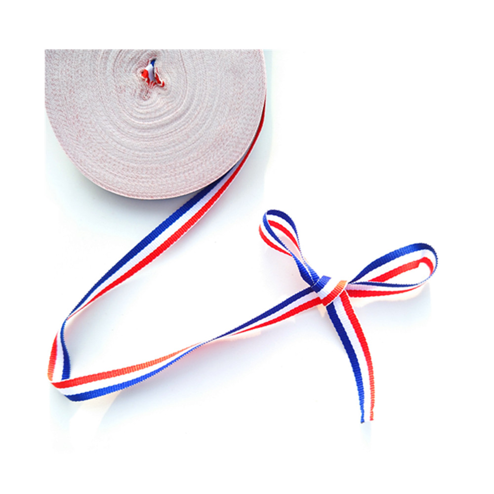 Decoração de natal 10mm tecido 25 quintal frança bandeira fita de gorgorão para artesanato borboleta grampo de cabelo saco cinto vermelho branco azul