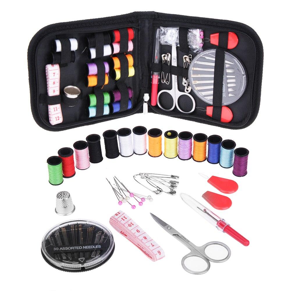 Anpro 68 pièces/ensemble Portable | Boîte à couture de voyage, fil à quilter couture broderie artisanat fil à molette couture bricolage fournitures de couture