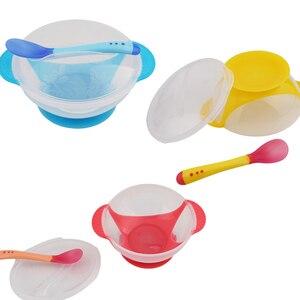 Новинка, детское питание малыша, тренировочная чаша с ложкой, набор, мультяшная бинауральная детская посуда для кормления, Детские тарелки, ...