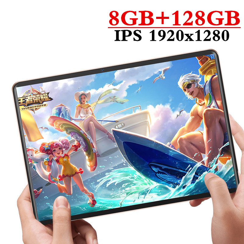 2020 New Design 10.1 Inch Tablet Android 9.0 8 Core 8GB RAM + 128GB ROM Dual Camera 8MP SIM Tablet PC Wifi GPS 4G Lte Phone