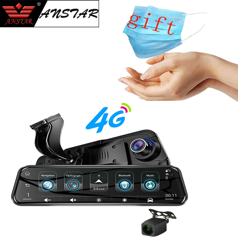 <font><b>2019</b></font> Anstar 10'' 4G Rearview <font><b>Mirror</b></font> Car DVR 1080P Video Record <font><b>Dash</b></font> <font><b>Cam</b></font> Dual Lens ADAS GPS Navigation Auto Registrar Camera image