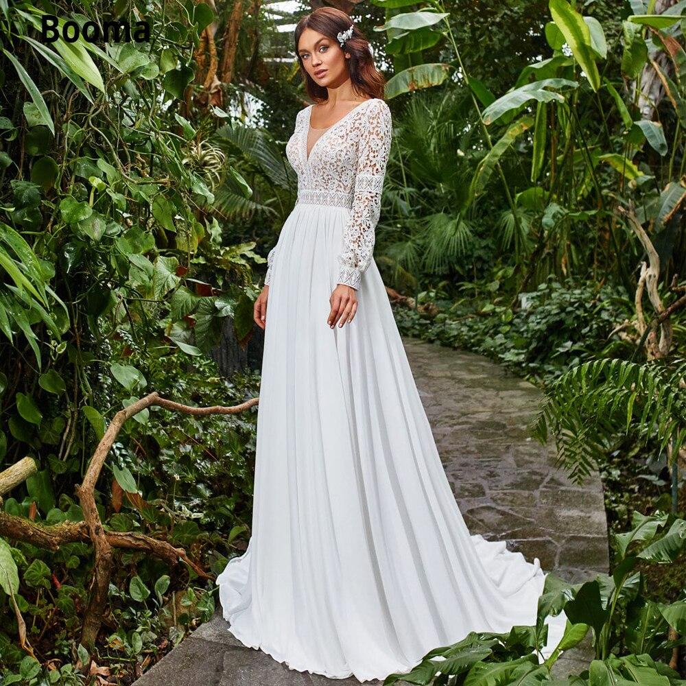 Booma Boho Wedding Dresses Chiffon Lace Bride Gown V-neck Backless Long Sleeve Cut-out Princess Party Dresses Plus Size Vintage