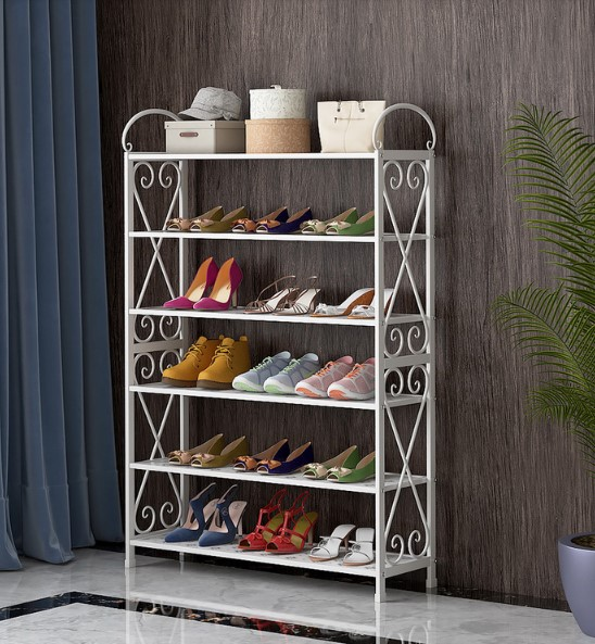 Simple shoe rack home economy dormitory dust-proof shoe cabinet space assembly door small shoe rack